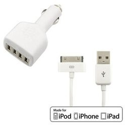 iPod-iPhone-iPad Combo Car + AC Charger Kit & USB Cable